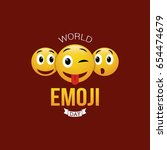 world emoji day vector... | Shutterstock .eps vector #654474679