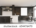 side view of a dark wooden cafe ... | Shutterstock . vector #654476470