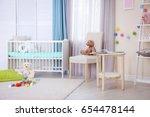 interior of light cozy baby... | Shutterstock . vector #654478144