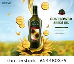 sunflower oil contained in... | Shutterstock .eps vector #654480379