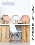 cozy study space with wooden...   Shutterstock . vector #654482524