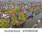 amsterdam old town. canal top... | Shutterstock . vector #654484438