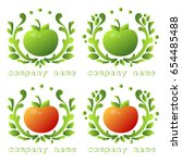 logos of fruit and vegetables.... | Shutterstock .eps vector #654485488