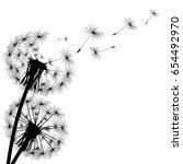 black silhouette of a dandelion ... | Shutterstock .eps vector #654492970