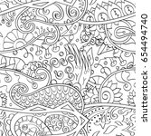 tracery seamless pattern.... | Shutterstock .eps vector #654494740