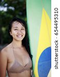 brazilian japanese surfer girl... | Shutterstock . vector #654495310