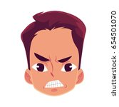 young man face  angry facial... | Shutterstock .eps vector #654501070