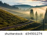country road through foggy spruce forest on grassy hills. spectacular countryside landscape in mountains at sunrise - stock photo