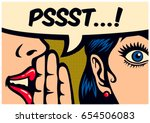 Stock vector  pop art style comic book panel gossip girl whispering in ear secrets with speech bubble rumor 654506083