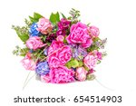 wedding bouquet made of pink... | Shutterstock . vector #654514903
