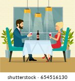 night romantic date with wine.... | Shutterstock .eps vector #654516130