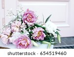 small bouquet in pink colors.... | Shutterstock . vector #654519460
