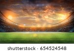 stadium in lights and flashes... | Shutterstock . vector #654524548