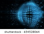 abstract futuristic techno blue ... | Shutterstock . vector #654528064