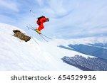 good skiing in the snowy... | Shutterstock . vector #654529936