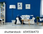 stylish blue and white living... | Shutterstock . vector #654536473