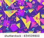 memphis seamless pattern.... | Shutterstock .eps vector #654539803