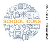 school icons set. outline icon... | Shutterstock .eps vector #654549700
