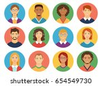 set of diverse man and woman... | Shutterstock .eps vector #654549730