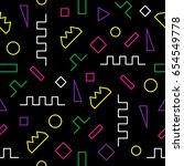 memphis seamless pattern.... | Shutterstock .eps vector #654549778