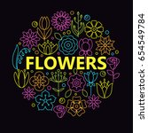 flower icons with outline style ... | Shutterstock .eps vector #654549784