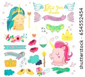 cute magic collection with... | Shutterstock . vector #654552454