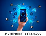 smartphone is protected from... | Shutterstock .eps vector #654556090