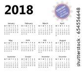 2018 wall calendar in english... | Shutterstock .eps vector #654556648