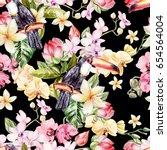 beautiful watercolor pattern... | Shutterstock . vector #654564004