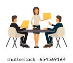 businessman having business... | Shutterstock .eps vector #654569164