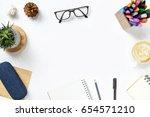white student desk with... | Shutterstock . vector #654571210