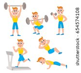 young man doing sport exercises ... | Shutterstock .eps vector #654574108