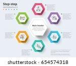 business 6 step process chart...   Shutterstock .eps vector #654574318