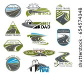 road icons set for travel or... | Shutterstock .eps vector #654574348