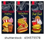fast food menu banners for... | Shutterstock .eps vector #654575578