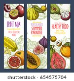 exotic and tropical fruits... | Shutterstock .eps vector #654575704