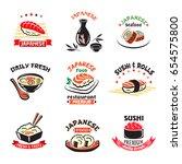 japanese restaurant or sushi... | Shutterstock .eps vector #654575800