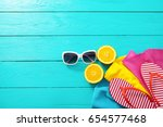 summer fun. fruits and...   Shutterstock . vector #654577468