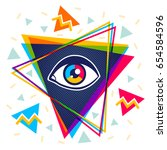 vector vintage pyramid with eye ... | Shutterstock .eps vector #654584596