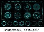 hud elements pack. vector... | Shutterstock .eps vector #654585214