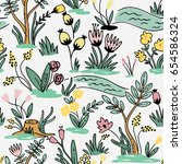 seamless hand drawn pattern... | Shutterstock .eps vector #654586324