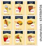 fast food price cards or menu... | Shutterstock .eps vector #654586936