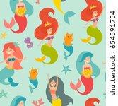 marine vector pattern. seamless ... | Shutterstock .eps vector #654591754