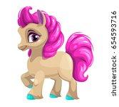 cute cartoon little horse with... | Shutterstock .eps vector #654593716