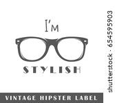 hipster label isolated on white ... | Shutterstock .eps vector #654595903