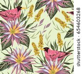 seamless pattern with tropical... | Shutterstock .eps vector #654603268