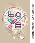 abstract love poster design... | Shutterstock .eps vector #654606340