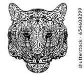 portrait of tiger  hand drawn... | Shutterstock .eps vector #654608299