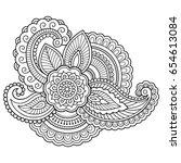 henna tattoo flower template....   Shutterstock .eps vector #654613084