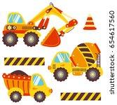 cute set construction equipment ... | Shutterstock .eps vector #654617560